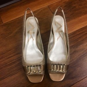 Anne Klein gold sling heels - special occasion
